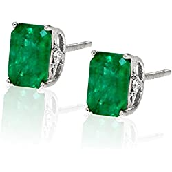 14k White Gold Green Emerald Gemstone and Diamond Stud Earrings, Birthstone of May.