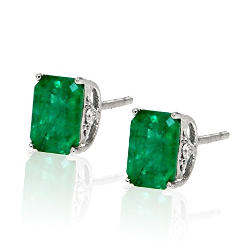 14k-White-Gold-Green-Emerald-Gemstone-and-Diamond-Stud-Earrings-Birthstone-of-May
