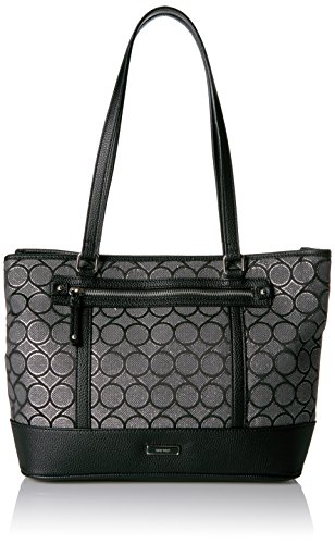 Nine West 9 Jacquard Tote, Black/Grey Metallic/Black