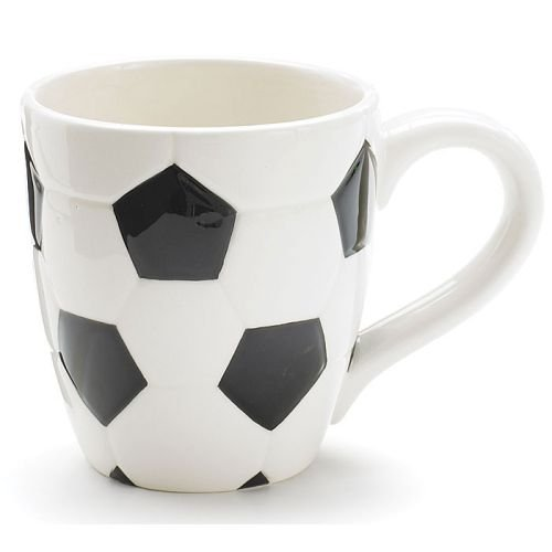 Soccer Coffee Mug (Ceramic Soccer Ball Design Sports Coffee Tea Mug with Handle Great Gift Idea for Coaches, Soccer Fans, Soccer Players - Black/White, 15 Oz)