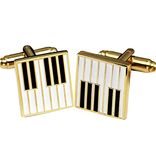 (Sound harbor MG-98 Music Note Cufflinks,Music Notes Music Cufflinks,Instrument shape cufflinks(Piano keyboard shape-Gold plated))