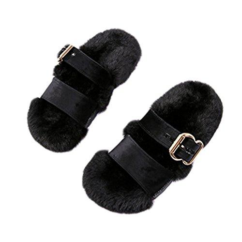 Per Piatte Faux Beginning Caviglia Signore Alla Pantofole Sandali E Nero In Moda Con Donne Auspicious Pelliccia Cinturino Del Le gvFSWqqO