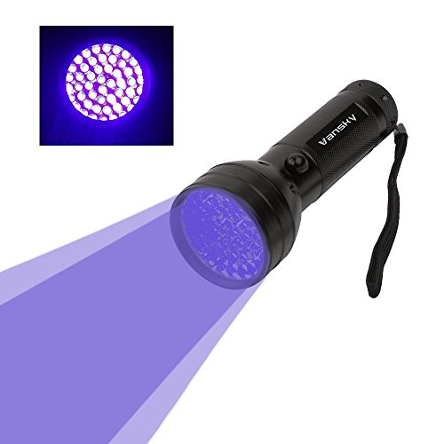 Vansky 51 LEDs Black Light Flashlight Pets Ultra Violet Urine and Stain Detector,Find Dry Stains on Carpets, Rugs, Floor. 3 x AA Batteries Included