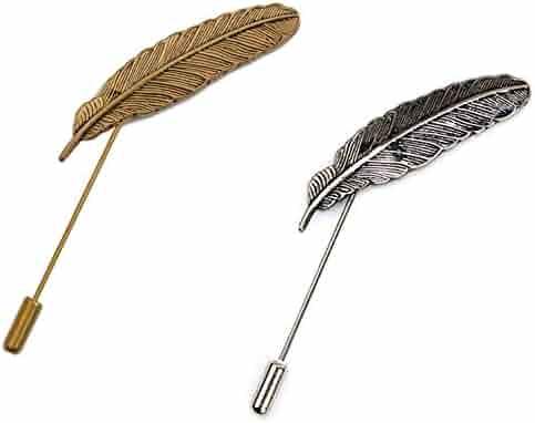 8a4759c75 AngelShop Men Metal Brooch Pin Vintage Lapel Stick Pin Suit Tie Brooch  Badge 2PCS