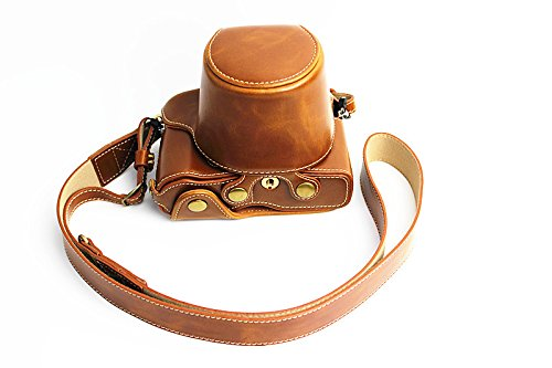 Full Protection Bottom Opening Version Protective PU Leather Camera Case Bag with Tripod Design Compatible For Olympus PEN-F with Shoulder Neck Strap Belt Brown - Protective Case Olympus