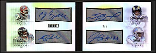 (2010 Topps Tribute Quad Autographs #4 C.J. Spiller Tim Tebow Sam Bradford Jahvid Best Auto 4/5 - NM-MT)