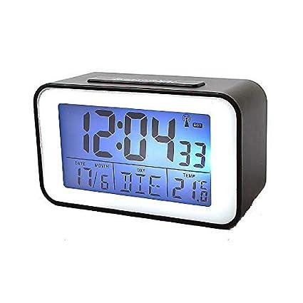 Reloj con Termómetro Despertador, Reloj Despertador en negro (SN4491s)