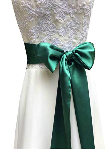 - Special Occasion Dress sash Bridal Belts Wedding sash 4'' Wide Double Side (Emerald)