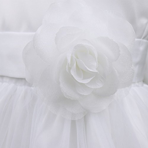 Pétales De Fleurs Fille Tiaobug Tutu Arc Robe De Mariage Formel Reconstitution Historique De Mariée Blanche