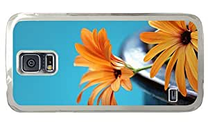 Hipster Samsung Galaxy S5 Case stylish covers orange flowers background PC Transparent for Samsung S5 by runtopwell