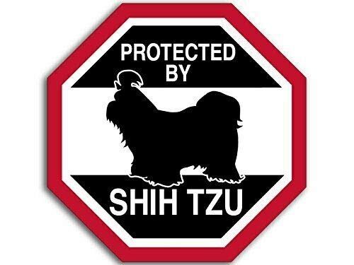 MAGNET 4x4 inch Octangular Protected by Shih TZU Sticker (Funny Dog Breed Love) Magnetic vinyl bumper sticker sticks to any metal fridge, car, signs