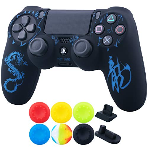 (9CDeer 1 Piece of Silicone Laser Carving Protective Cover Skin + 6 Thumb Grips & Dust Proof Plugs for PS4/Slim/Pro Controller Loong Blue)