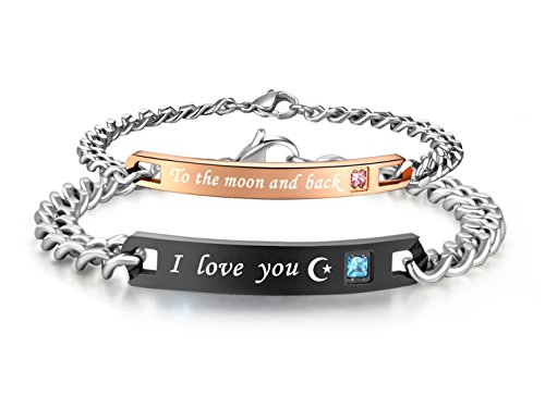 His & Hers Matching Set Stainless Steel I Love You to the Moon and Back Couple Bracelet in a Gift Box (A PAIR) by SunnyHouse Jewelry