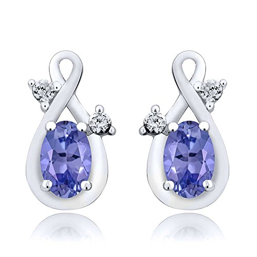 Sterling Silver Natural Blue Tanzanite Gemstone Birthstone Earrings For Women (0.93 cttw, 6X4MM Oval) - Wholesale Gemstone Earrings