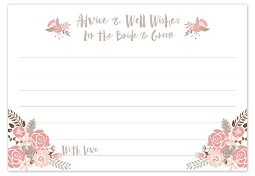 Boho Floral Wedding Advice Cards - Advice & Well Wishes for the Bride & Groom - Blush Color - Bridal Shower Game or Reception Activity (50 Count)