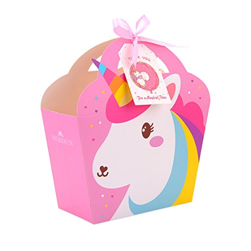 MORDUN 24 Unicorn Party Favor Bags Thank You Tags Included Goodie Kids Birthday