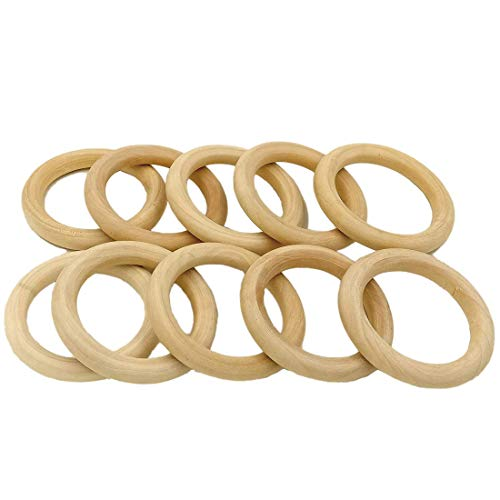 R.FLOWER 10PCS 2.8 Natural Wood Rings Circles Wooden Rings for Craft DIY Pendant Connectors Jewelry Making