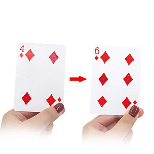 WSNMING Magic Tricks Card Fantastic 4 to 6 Moving Point Card for Magician Cards Gimmick Close up Magic Props with Video Tutorial