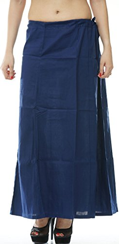 Odishabazaar Women Saree Petticoat Cotton Underskirt Lining for Sari + Free Sari Pin (Blue) by Odishabazaar (Image #2)