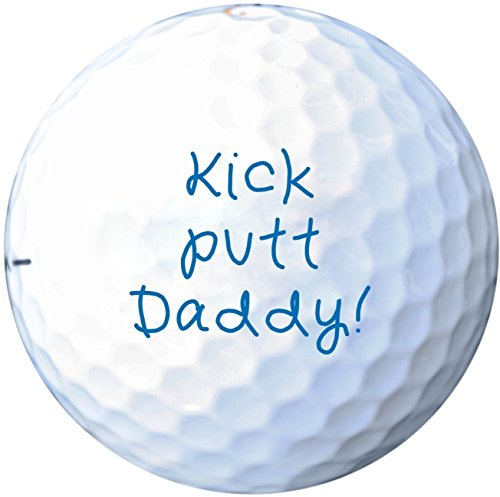 (Set of 3) ''Kick Putt Daddy!'' Golf Balls - Printed Golf Balls for Father's Day Gift, Stocking Stuffers, Golf Gifts for Dad from Kids - EB13BU by Frederick Engraving