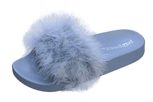 Pupeez Girls Open Toe Flip Flop Slide Slippers with Soft Faux Fur Top and Hard Sole by Pupeez (Image #1)