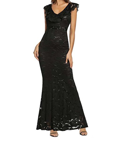 HEFEI Vestido Formal de Encaje de Sirena Sexy con Hombros Descubiertos para Mujer XIAOXIAO (Color : Negro, tamaño : SG)