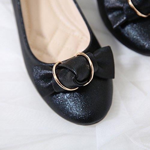 Meeshine Frauen Ballerinas Comfort Slip On Fashion Kleid Schuhe Schwarz 01