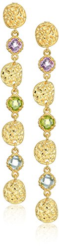 14k Multi Stone Dangle (14k Yellow Gold Italian Multi-Gem Stone Dangle Earrings)