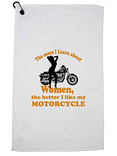 Hollywood Thread Sexy Motorcycle Girl - Have A Bike for The Girls Golf Towel with Carabiner Clip by Hollywood Thread