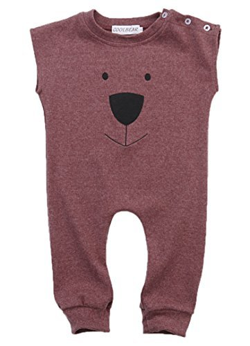 Girl Boys Bear Jumpsuit Animal Cotton Romper Toddler Clothes, 0-6 Months (Tag 70),Wine red) (Animal Romper)