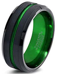 Tungsten Wedding Band Ring 8mm for Men Women Green Black Beveled Edge Brushed Polished Lifetime Guarantee