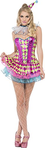 Smiffy's Women's Neon Harlequin Clown Costume, Tutu Dress, Neck Ruffle and Hat, Funny Side, Serious Fun, Size 10-12, (Harlequin Baby Costume)