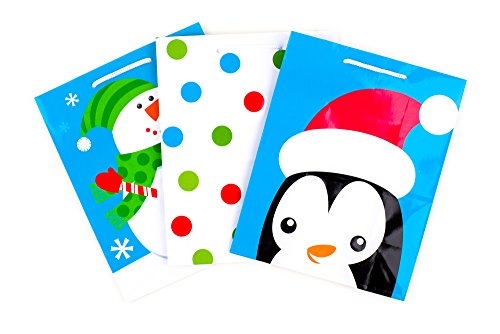 day Gift Bags, Snowman, Dots, Penguin (Pack of 3) ()