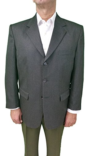 MEN'S BLAZER WOOL BLEND (40R, CHARCOAL GREY)