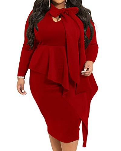 Plus Size Peplum Dress Patchwork Bodycon Business Church Formal Midi Dress Wine Red Burgundy Spring 2020 4X