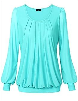 ac725c5440d Amazon.com: Tunic Tops For Leggings For Women, Laksmi Casual T Shirt Blouse  Scoop Neck Long Sleeve, XX-L/Light Blue: Books