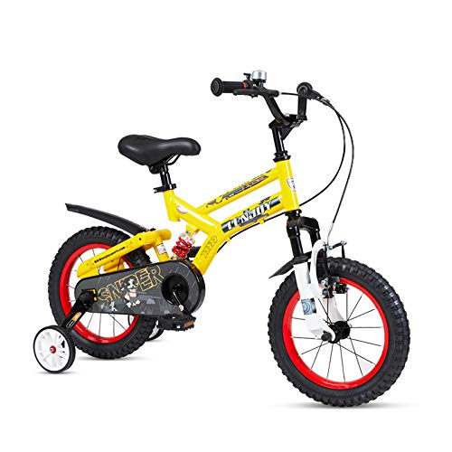 FOUJOY Kids Bike Steel Frame Children Bicycle 16 Inch with Training Wheels for 4-8 Years Old Children (Yellow) (Bike Frame Size For 8 Year Old)