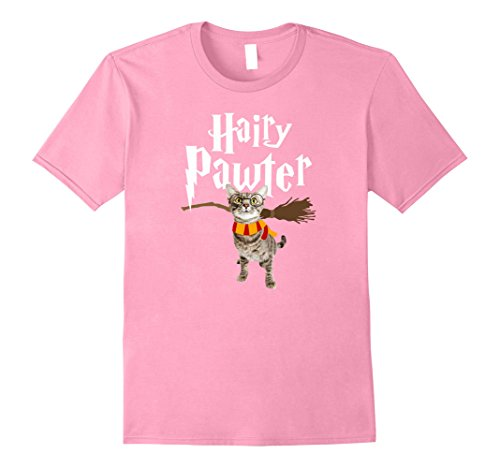 Mens FUNNY Pun Harry Pawter T-Shirt Wizard Gift for Cat Lovers Large Pink