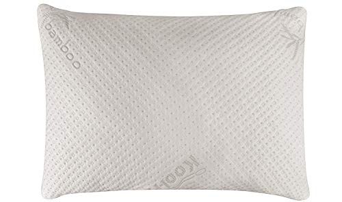 Snuggle-Pedic Ultra-Luxury Bamboo Shredded Memory Foam Pillow Combination with Adjustable Fit and Zipper Removable Kool-Flow Breathable Cooling Hypoallergenic Pillow Cover - Pillow Throw Memory