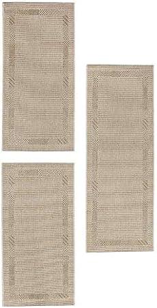 2X 67 x 140 cm // 1x 67 x 180 cm in anthrazit Bettumrandung Montana Bettvorleger Bord/üre Webteppich L/äuferset Gr/ö/ße:67 x 140//180 cm Farbe:Beige