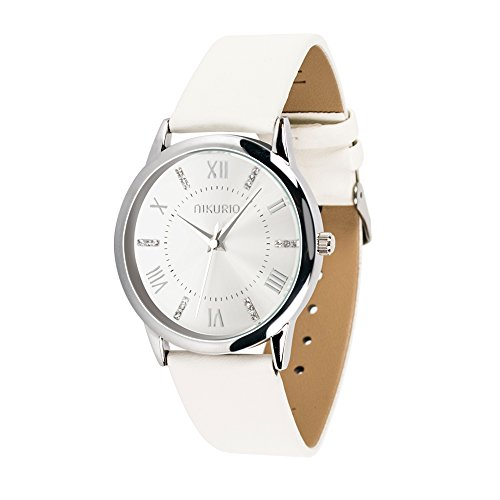Ladies Bracelet White Watch (AIKURIO Women Ladies Wrist Watch Waterproof Quartz Watch with Crystal Dial Clock Leather for Female Luxury Fashion Business Classic (White))