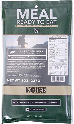 XMRE Main Entree Ready to Eat Authentic Military Grade M.R.E. Single Meal Pack 8 oz (Creamy Spinach Fettuccine) ()