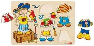 Goki Juego de mesa PUZZLE EDUCATIVO MADERA 8 piezas Modelo VESTIR PIRATA Primera infancia +2 años: Amazon.es: Juguetes y juegos