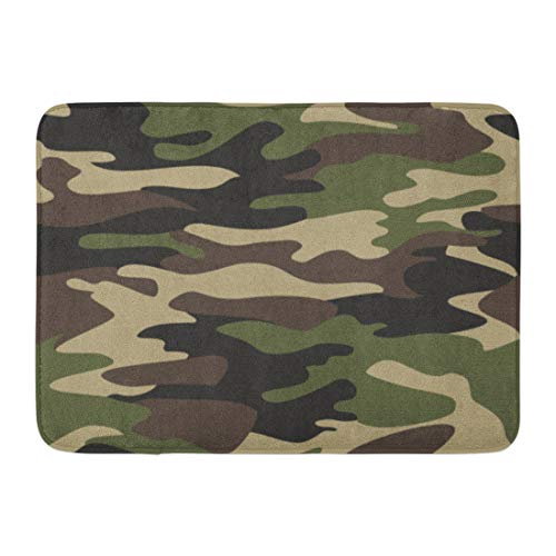 Emvency Doormats Bath Rugs Outdoor/Indoor Door Mat Beige Army Camouflage Pattern Classic Masking Camo Green Brown Black Olive Colors Forest Colorful Bathroom Decor Rug Bath Mat 16