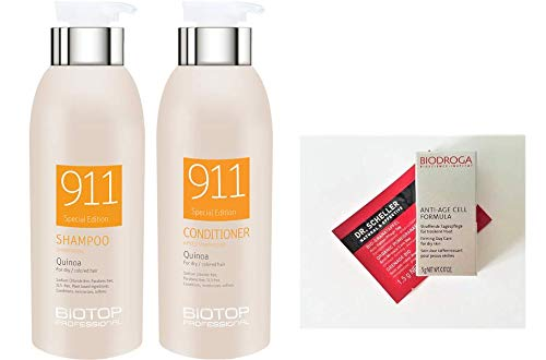 Biotop Professional 911 Quinoa Shampoo and Conditioner DUO 11.15 oz. each + 2 Free Samples