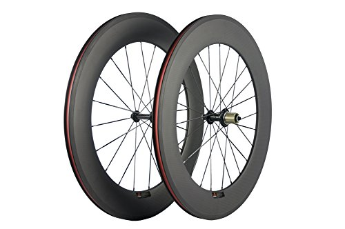 SunRise Bike 88mm Wheelset Clincher 700c Carbon Cyclocross Rim for Road Bicycle 23mm Width(Shimano Cassette)