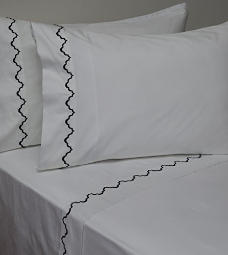 Belle Epoque 59885 Traditional Idarlenis Embroidered Sheet Set Navy, Queen (300tc Single)