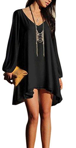 XQS Women's Plus Size Loose V-Neck Chiffon Tops Mini Dress black XL (Hood Dress)