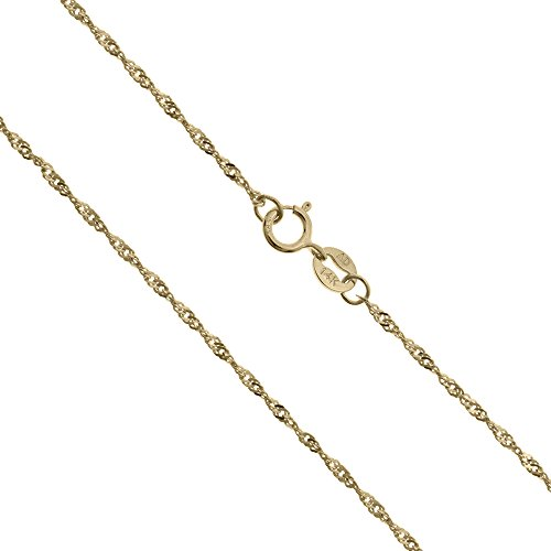 Honolulu Jewelry Company 14K Solid Yellow Gold 1mm Singapore Twisted Curb Chain - 18 Inches