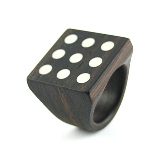 Ebony Wooden Ring With Squared Face and - Squared Face